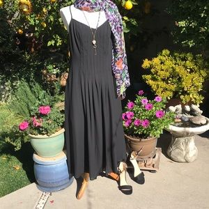 Banana Republic pleated long black dress